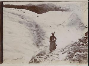 France-Chamonix-Une-femme-sur-le-Mont-Blanc-ca-1906-vintage-citrate-print-Vi