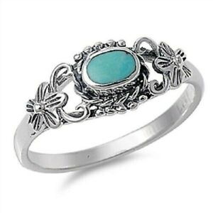 Sterling-Silver-Oval-Floral-Turquoise-Ring-Free-Gift-Packaging