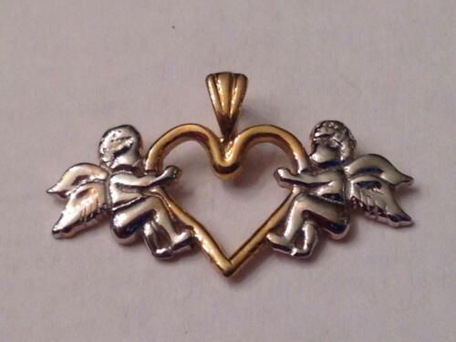 10K Jaune /& Or Blanc JMO cœur ouvert avec angelot anges Charme Pendentif 0.8 G Neuf avec étiquettes