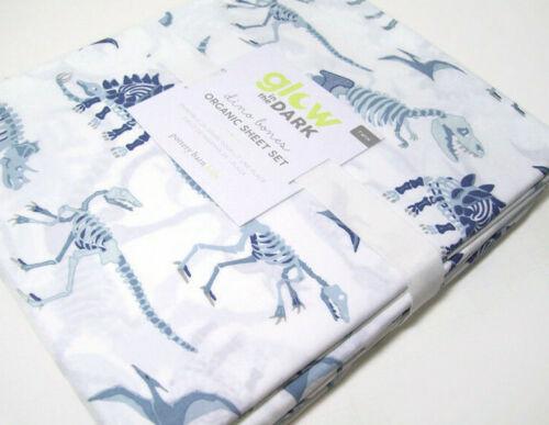 Pottery Barn Kids Glow in the Dark Dino Dinosaur Bones Cotton Twin Sheet Set New
