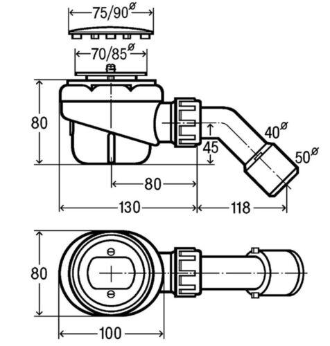 Viega Domoplex Set Ablaufgarnitur Duschwanne 52mm Siphon Brausewanne 126582