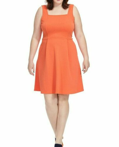 London Times Sleeveless Stretch Jersey Fit And Flare Dress In Orange Size 16W