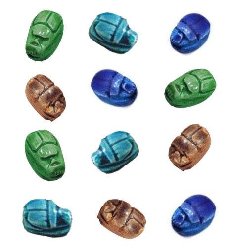 12 colgantes de piedra Escarabajo De Cerámica grano egipcio Tallado a Mano XS 205