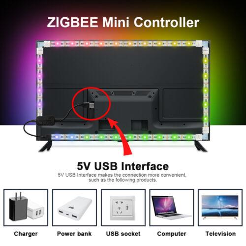 DC5V ZIGBEE USB Controller 2M RGB+CCT 5050 Led Strip TV Back lighting for Echo