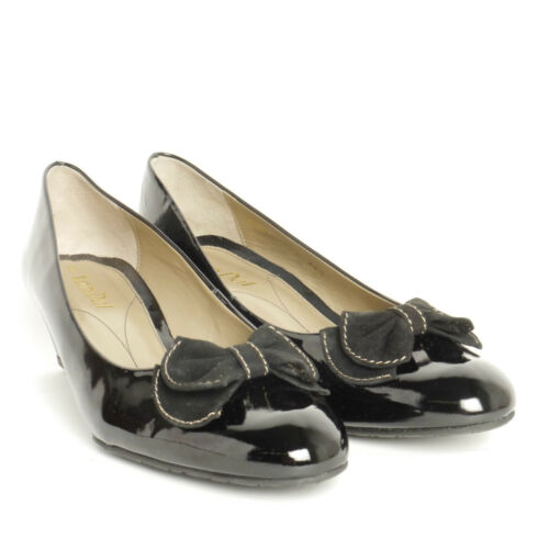 """VAN DAL BLACK PATENT SUEDE BOW DETAILING LEATHER SHOES /""""RIOM II /"""" EE FITTING"""