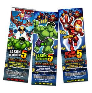 Super Hero Squad Birthday Party Invitation Ticket 1st Custom Invites