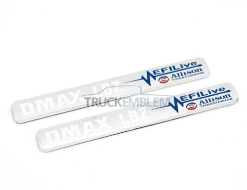 "2 New Chrome /& White Duramax Diesel /""DMAX LBZ/"" Allison EFILIVE 2500 3500 Badges"