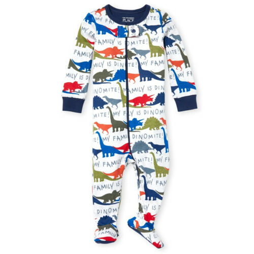 NWT The Childrens Place Boys Dinosaur Footed Stretchie Pajamas Sleeper