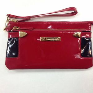 Women RFID Cabrelli & Co Italian Patent Leather  Wallet Clutch Red With Black