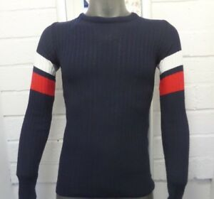 Mens Crew Neck Stripe Navy Muscle Fit Ribbed Jumper With Red Arm Stripe