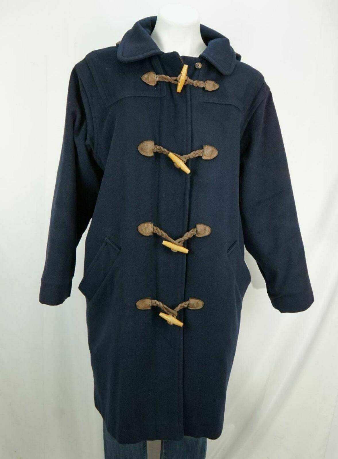 L.L.Bean Women's Wool Duffel Toggle Hooded Coat N… - image 1