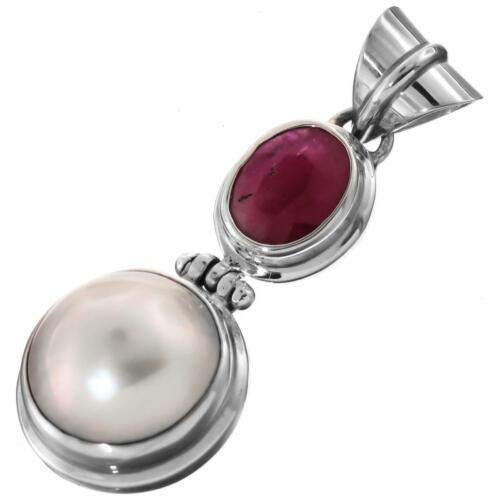 """1 9//16/"""" Blanc Mabe Pearl Genuine RUBY 925 Pendentif En Argent Sterling"""