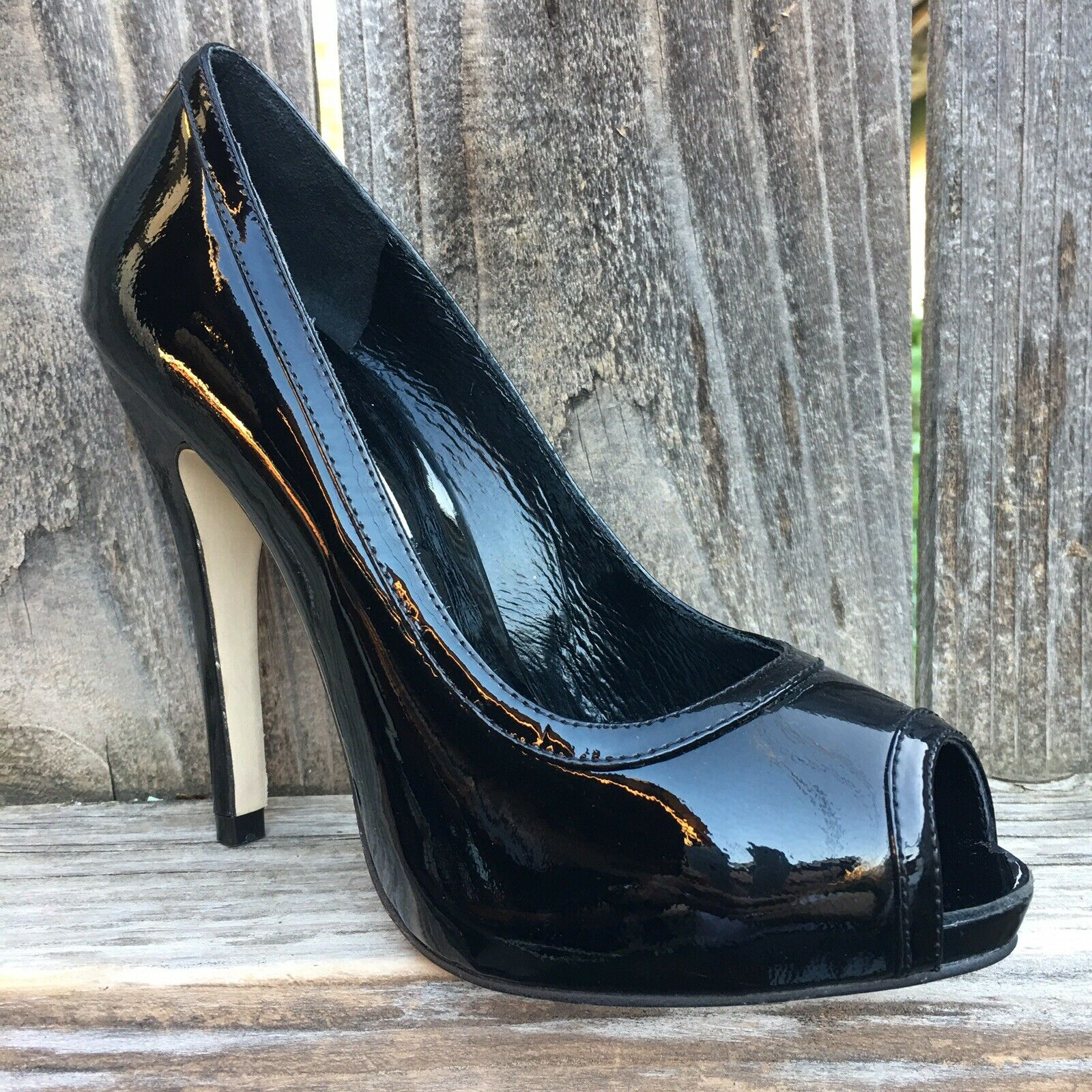 Katheryn Amberleigh Womens Heels 6.5 Hand Crafted Black Patent Leather Peep Toe