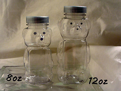 10 Clear Plastic Containers Transparent Honey Bear Silver Lids  8oz Panel  PET