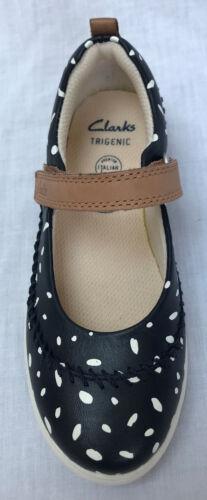 BNIB Clarks Girls Tri Molly Blue Combi Italian Soft Leather Trigenic Shoes