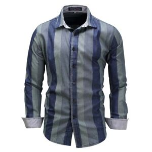 Korean-Fashion-Men-039-s-Striped-Casual-Shirt-Business-Dress-T-shirts-Slim-Tops