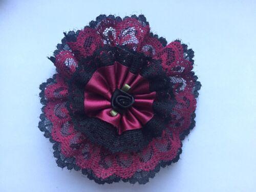 rosette administration noir bordeaux mardi gras 95mm Jolie dentelle fleur