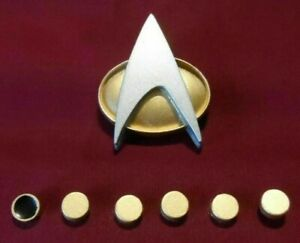Star-Trek-Next-Generation-Communicator-Pin-Combadge-Badge-amp-6-Rank-Pips