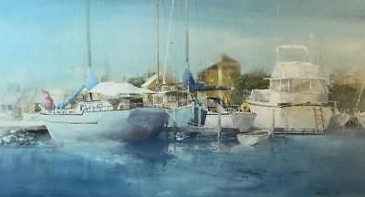 Randall Higdon Dockside Quietness Boat  Art Print