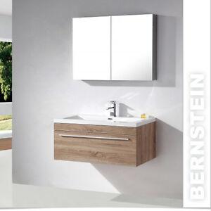 Details zu Badmöbel Set weiß /eiche geweisst Waschtisch  Waschbeckenunterschrank Waschbecken