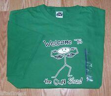 NWT New Mens XL WELCOME TO THE GUN SHOW Stick Muscleman Muscle Man T-shirt Green