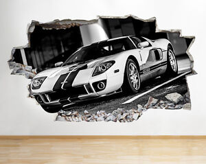 Wall Stickers Jeep Car Off Road Bedroom Boy Smashed Decal 3D Art Vinyl Room C214