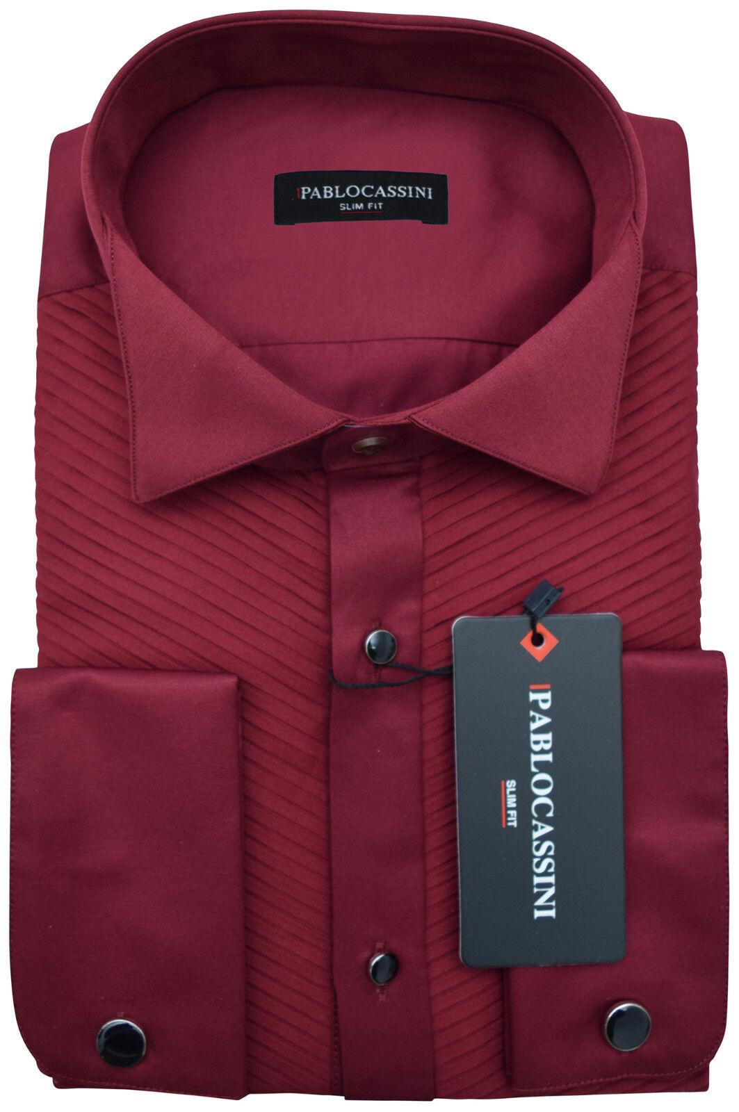PABLO CASSINI Smokinghemd Bordeaux red mit Plisseefalten und Manschettenknöpfe
