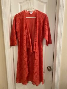 EUC-lularoe-Shirley-Kimono-Coprire-Corallo-Floreale-Pizzo-Small-S-elegante