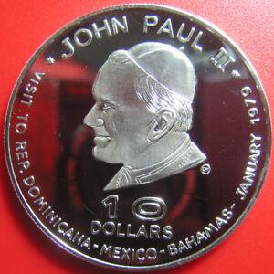 1978-1979-DOMINICA-10-SILVER-BU-POPE-JOHN-PAUL-II-VISIT-WALLET-COA-RARE-M-1-150