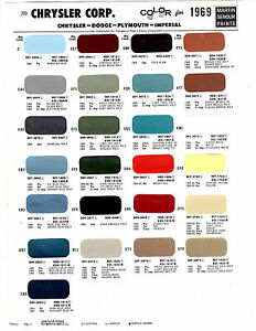 Details about 1969 DODGE CHARGER CORONET PLYMOUTH CUDA CHRYSLER 69 PAINT  CHIPS MARTIN SENOUR 8