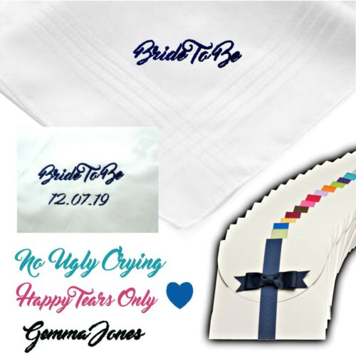 EMBROIDERED PERSONALISED HANDKERCHIEF BRIDE TO BE BRIDESMAID GIFT WEDDING WHITE