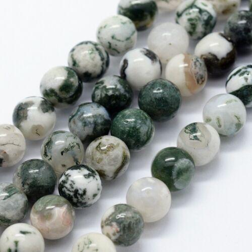 lot de 24 perles 8 mm agate d/'arbre gemme naturel