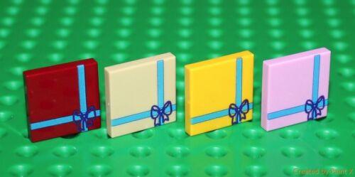 Lego 4x Mix Tile 2x2 Custom Printed Present Design NEW