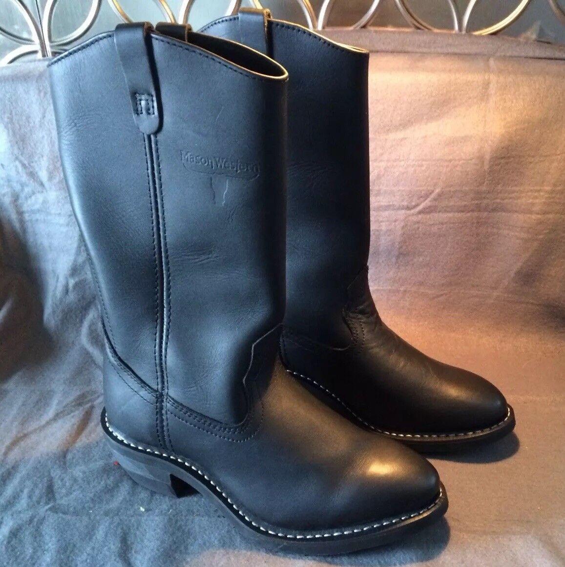 Para hombres Cuero Negro botas De Trabajo Mason Western con caña de alta resistencia occidental