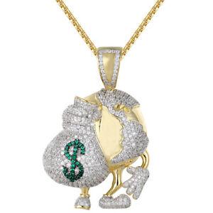 White Gold Tone World Globe Map Hands Holding Money Dollar Bag Charm Icy Pendant