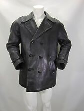 LEATHER TRENCH PELLE Giubbino Cappotto Jacket Trench Coat Tg L Man Uomo G9