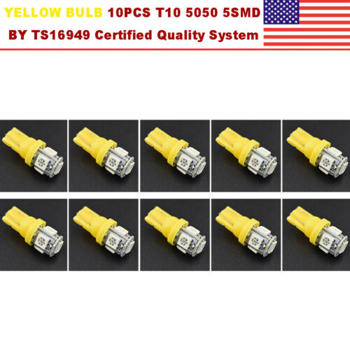 10PCS 12v 5SMD Wedge LED Yellow Super Bright Car Light Bulb T10 5050 W5W 168 194