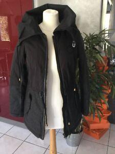 Détails sur Parka manteau KAPORAL taille XS gris et noir neuf