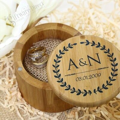 Personalised Wooden Ring Bearer Box Page Boy Flower Girl Wedding Gift Decoration