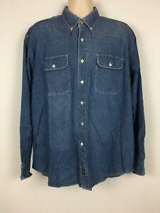 Dockers-Men-s-L-Denim-Button-Up-Shirt-Long-Sleeve-Indigo-Blue-Lightweight-Casual