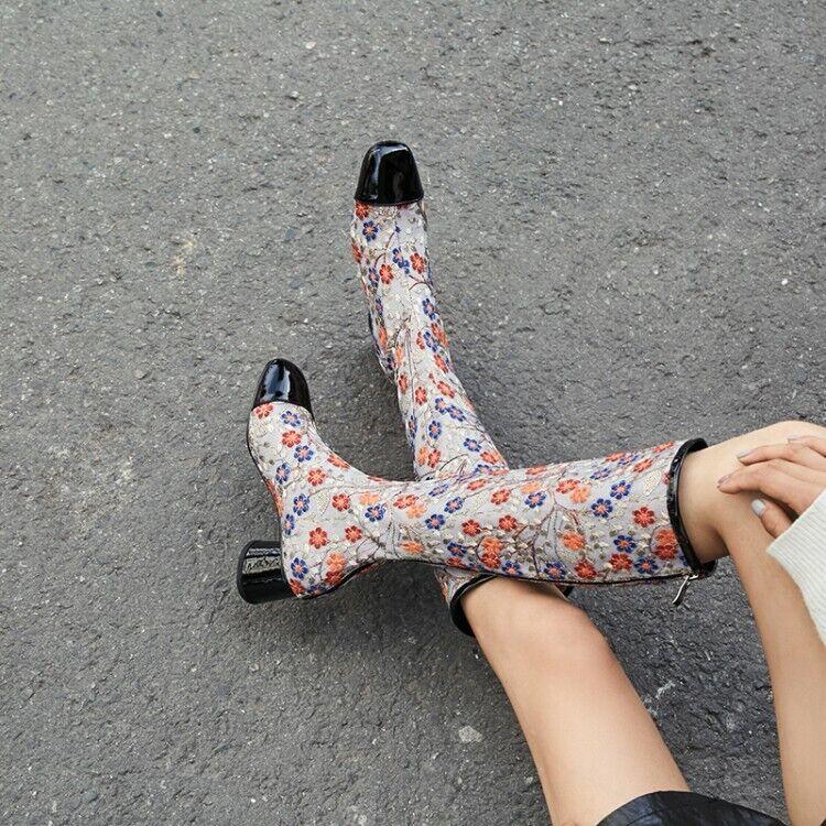 Para Mujer grueso bloque talón Bordado Floral Charol Zapatos botas Hasta La Rodilla