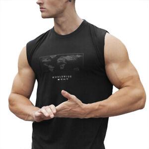 New-Men-Vest-Plain-Sleeveless-T-Shirt-Athletic-Sports-Gym-Print-Tank-Top-IO