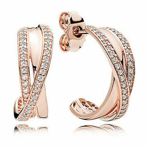 ENTWINED PANDORA HOOP Earrings 290730CZ NEW w POUCH GOLD Rose S925   eBay