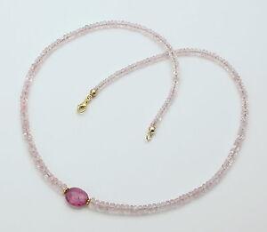 Morganit-Kette-facettiert-Rosa-Beryll-mit-Rubellit-Halskette-fur-Damen-46-5-cm