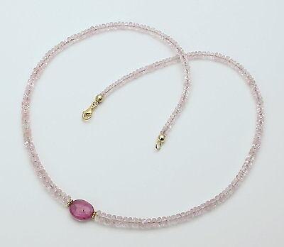 Diplomatisch Morganit-kette Facettiert - Rosa Beryll Mit Rubellit Halskette Für Damen 46,5 Cm