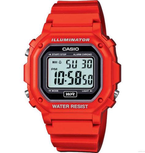 Casio Digital Chronograph Watch, Red Resin, Alarm, 7 Year Battery, F108WHC-4A