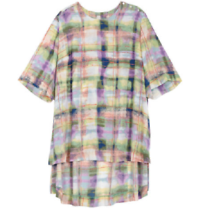 Melissa McCarthy Seven7 shoulder buttoning brushed plaid hi lo    tee top size 3x 57fcc7