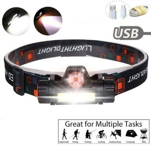 USB Rechargeable LED Headlamp Head Torch Flashlight Headlight Work Light Bright