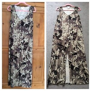Heine-Kaleidoscope-Size-14-16-Black-White-Print-Maxi-DRESS-Summer-Holiday-70