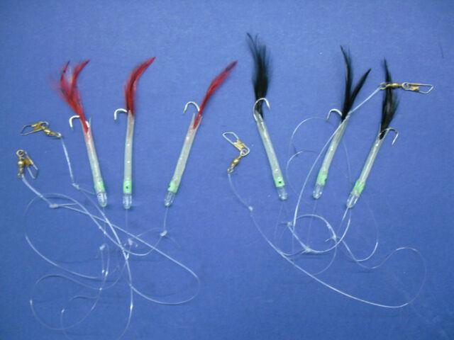 4 x Black Hokkai Lure 3 Hook 3//0 Boat Fishing shore Pollock Bass Cod Sea Fish